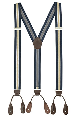 Suspenders for Men Leather Button End Tuxedo Y Back Mens Suspenders Pant Braces - Navy/Tan