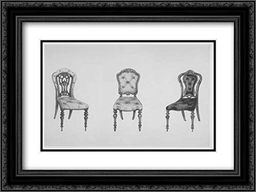 Ackermann & Co, London - 40x28 Black Ornate Frame and Double Matted Museum Art Print - A Useful and Modern Work on Chairs, in Twelve Plates, Containing Forty-Two Designs