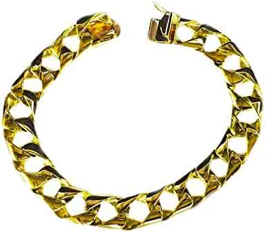 10Kt Solid Gold Heavy Handmade Curb Link Mens Chain/Bracelet 8