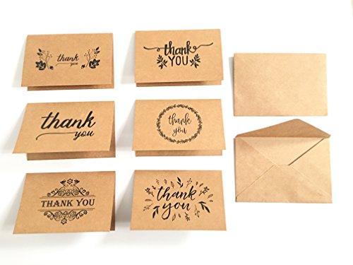Timemorry 36 Vintage Kraft Thank You Cards- 6 designs-Blank Inside-36 Kraft Envelopes Included-Good for Thanksgiving/Christmas - Messages Good Card Christmas