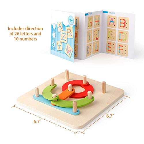 Coogam Wooden Letter Number Construction Puzzle Educational Stacking Blocks Toy Set Shape Color Sorter Pegboard Activity Board Sort Game for Kids Toddler Gift Preschool Learning STEM Toy