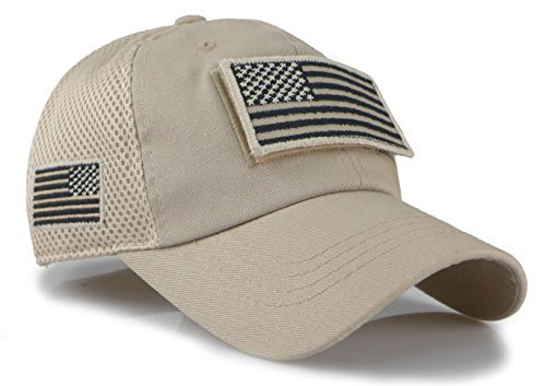 Camouflage Constructed Trucker Special Tactical Operator Forces USA Flag Patch Baseball Cap (Khaki)