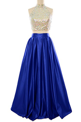 High Dress Women Neck Piece Ball Blue Long Macloth Royal Gown Two Homecoming Prom Evening FwHqtg1x