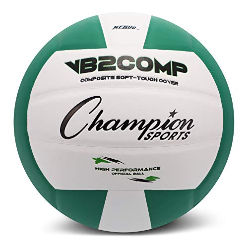 Champion Sports VB Pro Comp Series Indoor Volleyball, Official Size - Durable, Soft-Touch Volleyballs with Composite Synthetic Leather Cover - Premium Volleyball Equipment and Gear - Green/White (White Volleyball And Green)