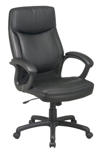 Office Star High Back Thick Padded Contour Seat and Back Eco Leather Executive Chair with Locking Tilt Control with Matching Stitching, Black Eco Leather Conference Chair