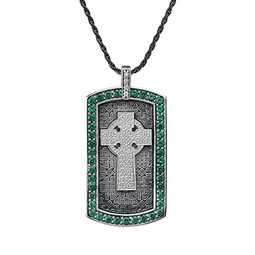 - Vintage Sterling Silver Celtic Cross with Green and White CZ Engravable Dog Tag Pendant Necklace, 20
