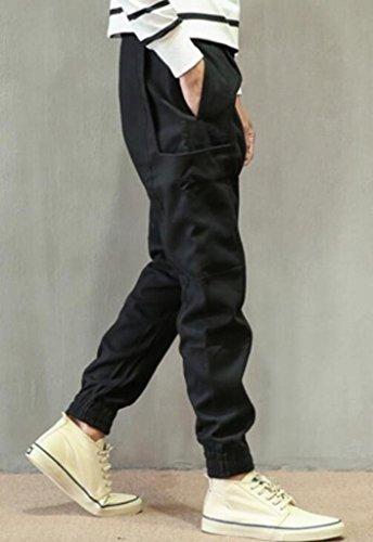 YUNY Mens Cotton Tracksuit Training Running Jogging Pants Black 2XL