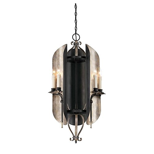 Aged Iron Accents (Savoy House 1-1320-6-326 Chandelier with No Shades, Aged Iron with Soft Copper Accents Finish)