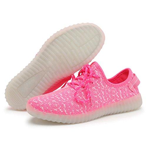 Joansam 7 Colores Led Luminous Unisex Sneakers Hombres Y Mujeres Luz De Carga Usb Colorful Glowing Leisure Zapatos Intermitentes Zapatos Deportivos Pink