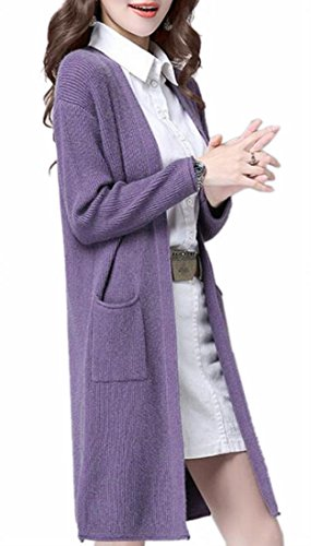 Year uk Long Solid Outwear Cardigan Sweater Sleeve Purple Fly Womens Cable Casual Knit 5TwfqTd
