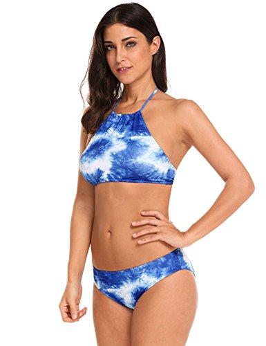 EKOUAER Mujer Elegante Bikini Dos Piezas Traje de Baño 2017 Nueva Moda Azul