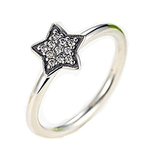 [Chariot Trading - 925 Sterling Silver Crystals Simple Star Clear (SIZE : 8)] (Womens Material Pop Star Costumes)