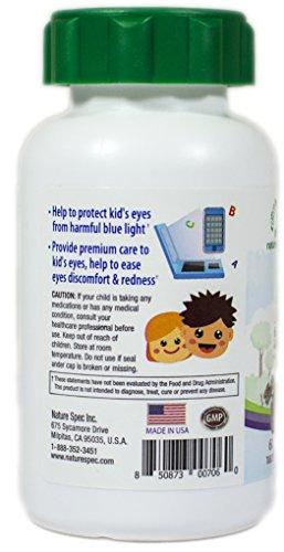 Nature Spec Kids Chewable Lutein Premium Blueberry Flavor Taurine Vitamin Zinc Eyebright Extract Lycium Extract Kid's Eye Health,Vitamin Chewbale Eye Health Kid Lutein by Nature Spec (Image #3)