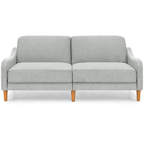 Best Choice Products Mid-Century Modern Linen Futon Sofa (Gray)