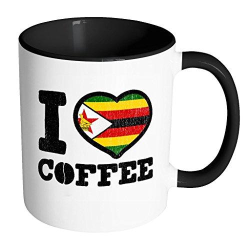 I Love Zimbabwean Coffee - Zimbabwe Pride Black & White 11oz Funny Coffee Mug - But First Caffeine Addict - Women Men Friends Gift - Both Sides Printed (Distressed)