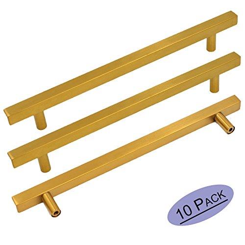 (goldenwarm Brushed Brass Cabinet Bar Handle Pull Cabinet Door Handles 10Pack - LS1212GD192 Gold Furniture Hardware Brushed Brass Finish Kitchen Cabinet Hardware 7-1/2in Hole Centers)