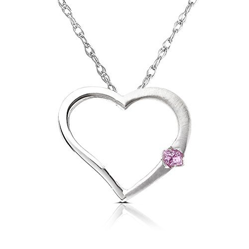 Pink Sapphire Heart Pendant in 14K White Gold by Kobelli