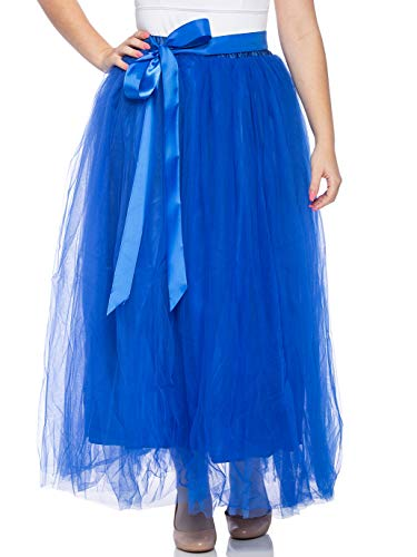 - Dancina Women's Ankle Length Tutu Maxi A-line Long Tulle Skirt for Dates Weddings Royal Blue Regular (Size 2-18)