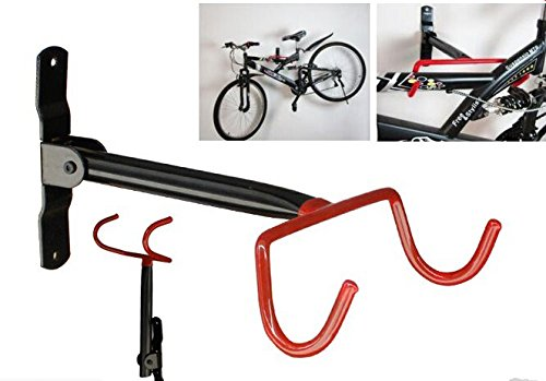LIVIVO Dual Hook Folding Garage Wall Mounted Bicycle Bike Storage Stand Rack Black And Red Wall Mount Cycle Hanger Holder With Fitting Screws by Generic