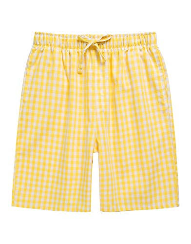 TINFL Boys Soft Cotton Plaid Check Sleep Lounge Shorts BSP-42-Yellow XL