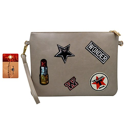 ZLMBAGUS Women Fashion Patch Sticker Clutch Purse Envelope Tote Handbag PU Chain Crossbody Shoulder Bag with Wristlet Grey (Bag Utility Patch)