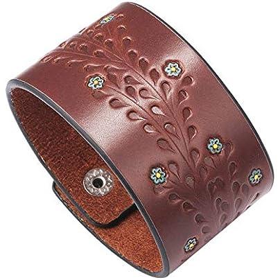 ZUOZUO Leather Wristband Black Retro Bracelet Wide Leather Bracelet Ladies Bracelet Cell Shape Punk Charm Jewelry Estimated Price £19.99 -