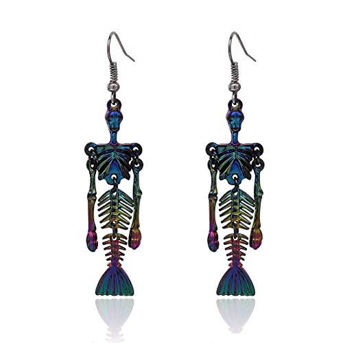 (PHALIN JEWELRY Halloween Mermaid Skeleton Dangle Earrings Party Gift Gothic Skull Hook Earring Women Girls ... (C)