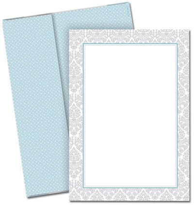 - Fresh Slate Damask Flat Card Invitations with Envelopes by Great Papers!