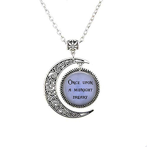 Once Upon a Midnight Dreary Pendant Necklace Or Key Necklace Or Bracelet Halloween Jewelry Edgar Allan Poe Quoth The Raven Nevermore The Moon Necklace Bible Quote Pendant Christian Religious Jewelry ()