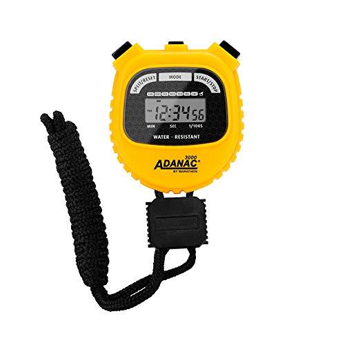 MARATHON Adanac 3000 digitale sport stopwatch timer met extra groot display en knoppen, waterbestendig – geel