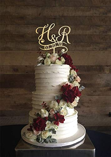- KISKISTONITE H & R Initial Custom Cake Topper, Cake Topper For Wedding, Personalized Cake Topper, Initial Letters Cake Topper, Wedding Cake Topper, Wood Cake Topper H, Cake Decorating