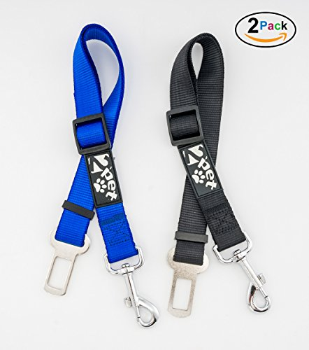 [2PET Dog Seat Belt Strap – Adjustable for All Breeds – Universal Fit Seatbelt Latches – Choose Color] (Month Belt Buckle)