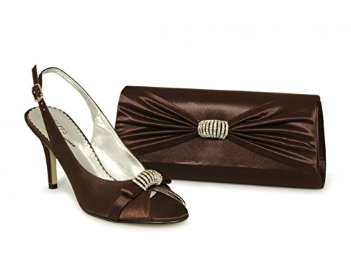 Satin Ladies Natasha Glitz Brown Brown Heel Slingback High Shoes xAI5dqw5C