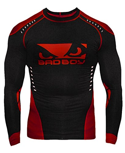 Bad Boy Men's Sphere Compression Rash Guard MMA L/S Black/Red