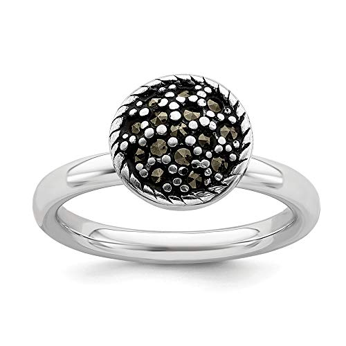 925 Sterling Silver Marcasite Band Ring Size 9.00 Stackable Gemstone Fine Jewelry Gifts For Women For Her
