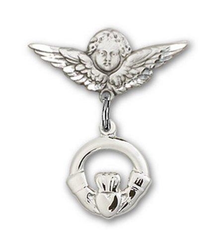 Icecarats Créatrice De Bijoux En Argent Sterling Claddagh Charme Ange Pin Badge 7/8 X 3/4