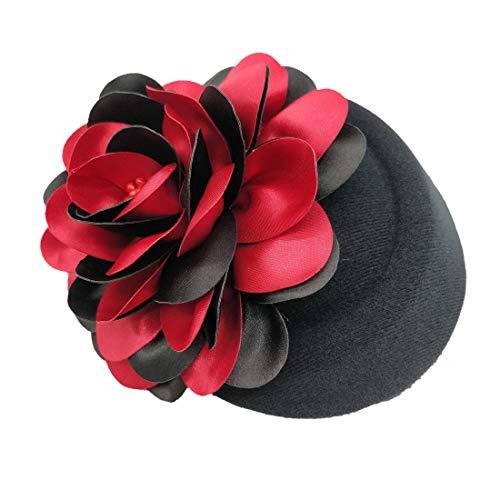 Ahugehome Fascinator Hair Clip Headband Pillbox Hat Flower Wedding Cocktail Tea Party (C Black red Flower B)