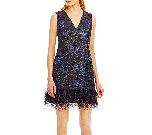 Nicole Miller Women's Black Feathered Metallic Brocade Dress (8)