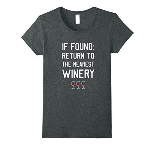 Womens If Found Return To The Nearest Winery shirt, red wine glass Medium Dark - Returns Com Glasses