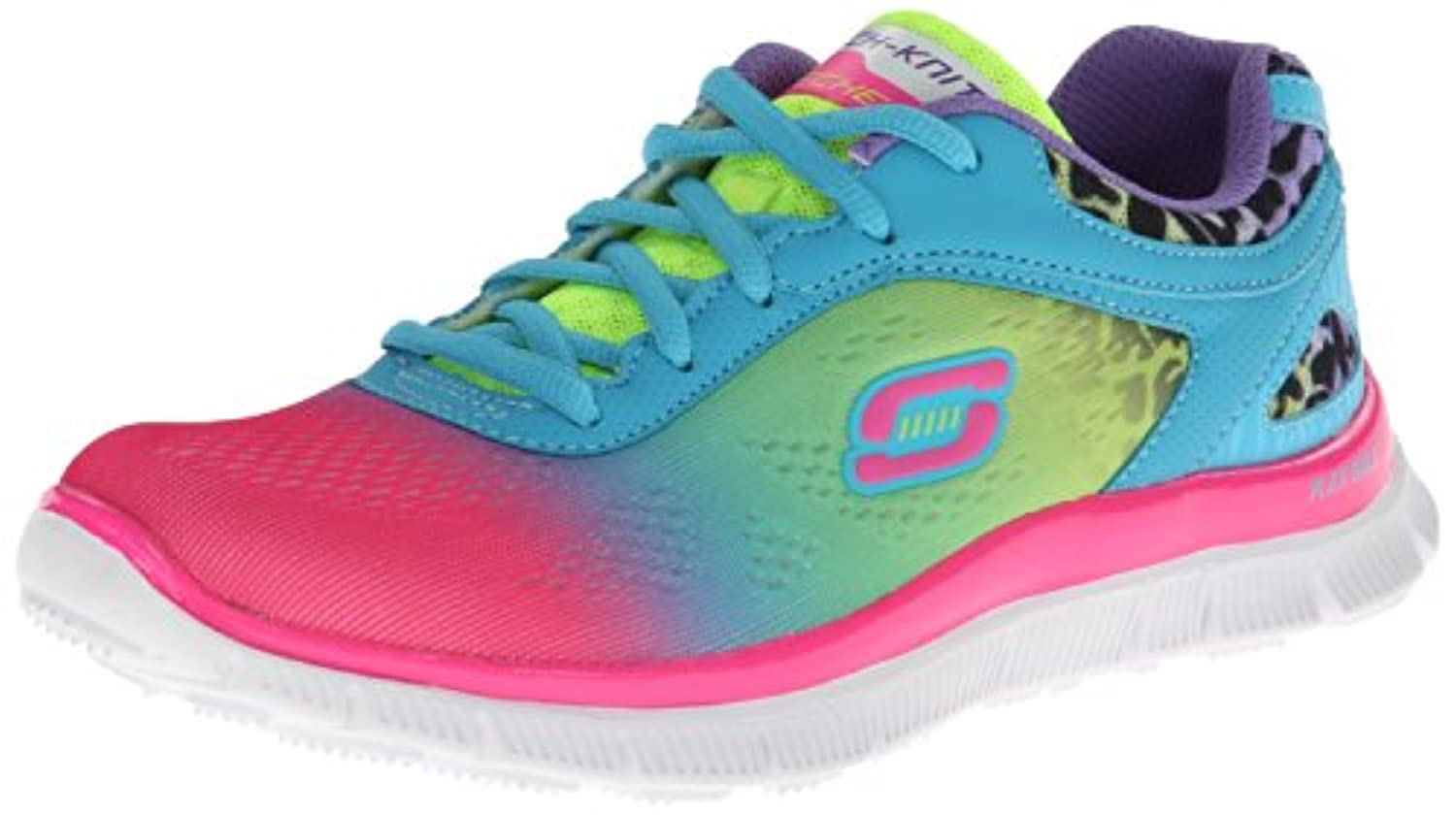 Skechers Flex Appeal Serengeti, Girls' Multisport Outdoor Shoes, Pink (Npmt - Neon Pink), 1.5 UK (34 EU)