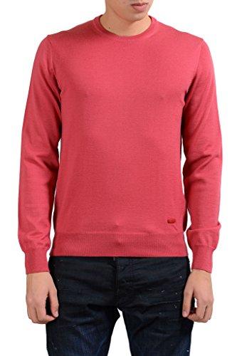(Armani Collezioni Men's Peach Crewneck 100% Wool Sweater US S IT)
