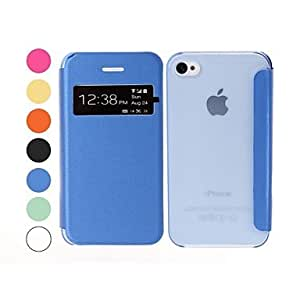 ZCL Solid Color Leather and Plastic Case for iPhone 4/4S , Green