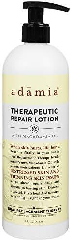 Adamia Therapeutic Repair Lotion with Macadamia Nut Oil and Promega-7, 16 oz Bottle - Fragrance Free, Paraben Free, Non GMO