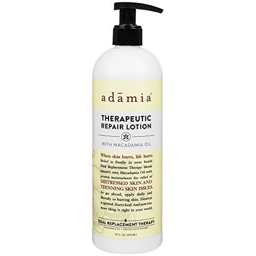 Adamia Therapeutic Repair Lotion with Macadamia Nut Oil and Promega-7, 16 oz Bottle - Fragrance Free, Paraben Free, Non GMO from Adamia