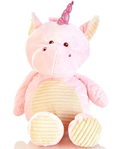 (Kellybaby 20in Pink Plush Unicorn Cuddle Toy with Rattle )