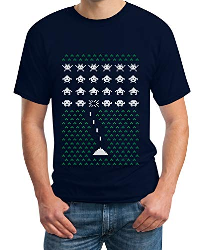 Space Sweater Ugly Da Shirtgeil Navy Invaders Videogame Uomo Maglietta UOqSd4S