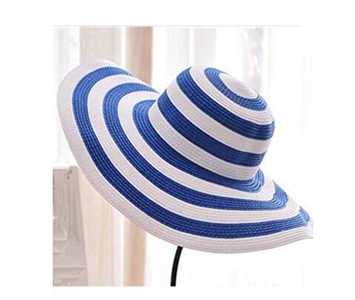 Women's Straw Panama Sun Hat Black Striped Overflowed Floppy Fashion,4 -