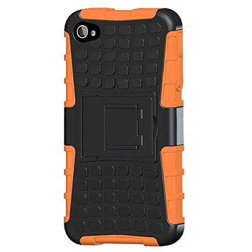 LUOLNH Coque iPhone 4/4s (TPU Series) (TPU Cases) Anti Choc Silicone téléphone Housse Résistant aux Impacts Coque Armor avec Béquille pour Apple iPhone 4/4s(Orange)