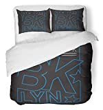 Emvency 3 Piece Duvet Cover Set Breathable Brushed Microfiber Fabric Blue Varsity New York Brooklyn Graphics City Tee America Apparels Athletic Best Bedding Set with 2 Pillow Covers Full/Queen Size