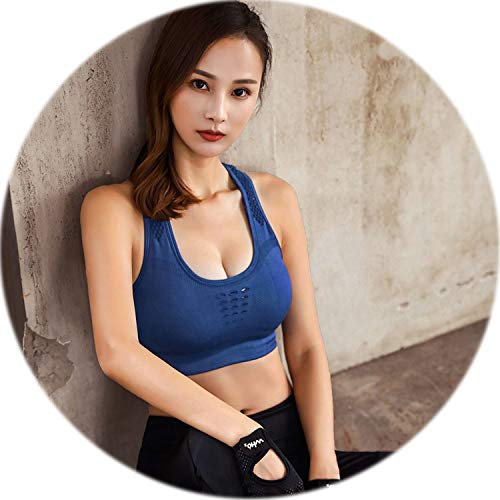 Top Athletic Running Sports Bra Yoga Brassiere Women Seamless High Impact Padded Underwear Vest Tanks,Blue,S (Wire Hubcap)